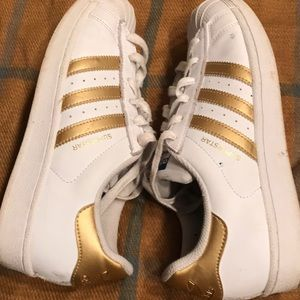 Adidas Superstar White & Gold Stripes tennis shoes